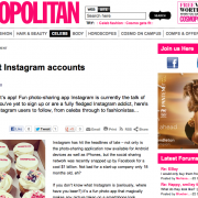 Cosmopolitan Magazine: The 20 Best Instagram Accounts to Follow (April 2012)