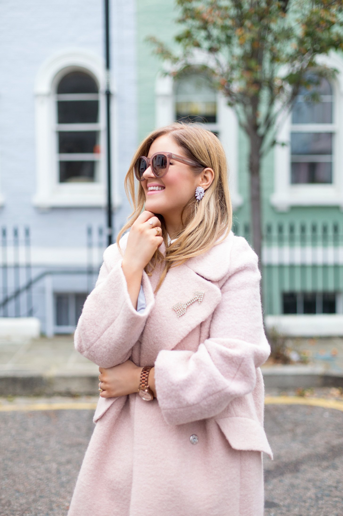Pastel Streets and Pink Coats for Winter